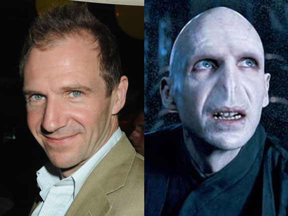 This man, Ralph Fiennes, doesn't own a really famous face without makeup, but you probably all know him as He-Who-Must-Not-Be-Named, or Lord voldemort.