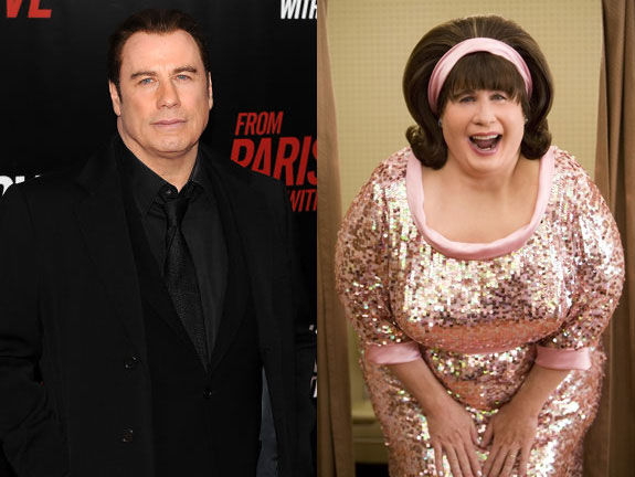 Here you see John Travolta, when he was in the movie 'Hairspray'. He had to sit 4-5 hours a day in the makeup chair! John's transformation into Edna ...